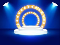 Stage podium with lighting, Stage Podium Scene with for Award Ceremony on blue Background, Vector illustration. Stage podium with lighting, Stage Podium Scene Royalty Free Stock Photo
