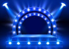 Stage podium with lighting, Stage Podium Scene with for Award Ceremony on blue background. Vector illustration stock illustration