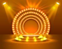 Stage Podium Scene with for Award Ceremony. Stage podium with lighting, Stage Podium Scene with for Award Ceremony on orange Background, Vector illustration stock illustration