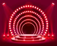 Stage Podium Scene with for Award Ceremony. Stage podium with lighting, Stage Podium Scene with for Award Ceremony on red Background, Vector illustration royalty free illustration