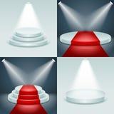 Stage podium set award ceremony illuminated 3d realistic design vector illustration. Stage podium set award ceremony illuminated 3d realistic vector illustration Stock Image
