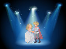 A stage with a prince and a princess Stock Images