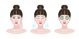 Stage, the procedure for cleansing, moisturizing the skin. Asian Beautiful woman wipes the face with a cotton pad. And with cucumber, mask. Sketch style vector Royalty Free Stock Photography