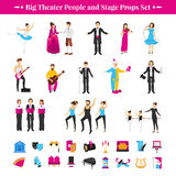 Stage Props Set. With actors dancers and musicians flat isolated vector illustration Royalty Free Stock Photos