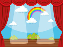 Stage with rainbow in backdrop Royalty Free Stock Image