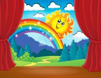 Stage with rainbow and sun Royalty Free Stock Photo