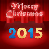 2015 on stage. Red background, snow Merry Christmas Stock Photo