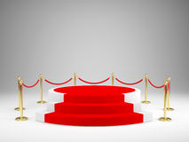 Stage with red carpet for awards ceremony. Podium, Pedestal concept Royalty Free Stock Image