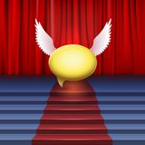Stage with red carpet and bubble with wings. Stock Images