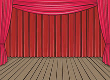 Stage and red curtain Stock Photo