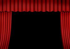 Stage with red curtain. Empaty stage with red curtain (open curtain Royalty Free Stock Image