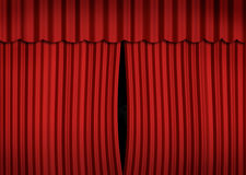 Stage with red curtain. Slightly open Stock Photos