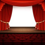Stage with red curtain. EPS 10 vector. Stage with red curtain. And also includes EPS 10 vector Stock Photo