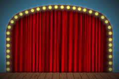 Stage with red curtain. Lights and wooden floor. Vector for your design Royalty Free Stock Image