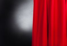 Stage With Red Curtain. Photo of theater stage with red curtain Stock Photos