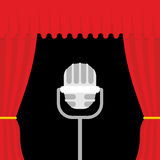 Stage with red curtain and retro microphone. Open theatre curtai Stock Image