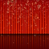 Stage with red curtain and streamer effect. EPS 10 vector. Stage with red curtain and streamer effect. And also includes EPS 10 vector stock illustration