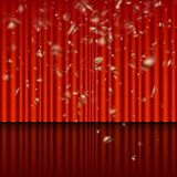 Stage with red curtain and streamer effect. EPS 10 vector. Stage with red curtain and streamer effect. And also includes EPS 10 vector royalty free illustration
