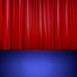 Stage with red curtain. Stock Photo