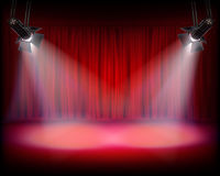 Stage with red curtain. Vector illustration. Royalty Free Stock Photos