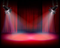 The Stage with red curtain. Vector illustration. Royalty Free Stock Images