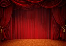 Stage with red curtain. And wooden floor Stock Image