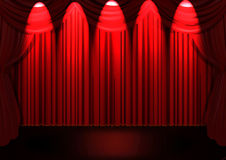 Stage with Red curtain. And wooden floor Stock Photo