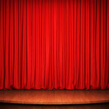 Stage with red curtain and wooden floor Royalty Free Stock Photography