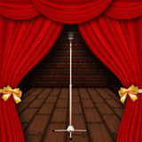 Stage with red curtains Royalty Free Stock Photography