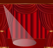 Stage with red curtains Royalty Free Stock Photo