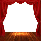 Stage with red curtains and spotlight. Stock Images