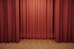 Stage with red scenes and wooden floor Stock Photos