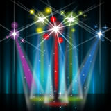 Stage Red Shows Lightsbeams Of Light And Colorful Stock Images