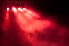 Stage red spot light. Concert stage with red spot light and smoke Royalty Free Stock Photography