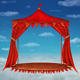 Stage with red  theater curtains in  cloudy sky background Stock Photos