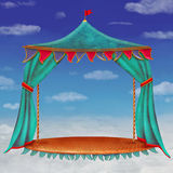 Stage with red  theater curtains in  cloudy sky background Royalty Free Stock Photos