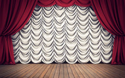 Stage with red and white curtains. 3D rendering. Stage with red and white curtains background. 3D rendering Royalty Free Stock Photos
