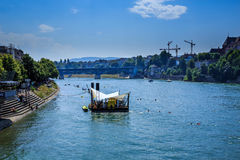 A stage on the Rhine in Basel, Switzerland Royalty Free Stock Image