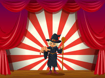 A stage with a scary witch in the middle Stock Image