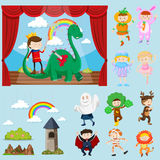 Stage scenes with different characters. Illustration Stock Photo