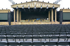 Stage and seating for a music concert. Temporary stage and seating for a music concert in Maastricht Stock Images