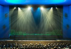 The stage before the show. The audience in the hall. The spotlight on stage. Theatre of the young spectator. Russia, Saratov Stock Photography