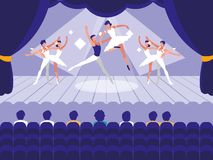 Stage with show ballet scene stock illustration