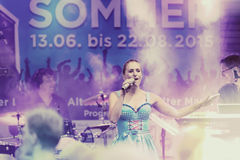 Stage show of Stefanie Hertel with band in Remscheid-Lennep Royalty Free Stock Photography