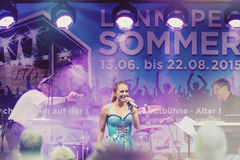 Stage show of Stefanie Hertel with band in Remscheid-Lennep Royalty Free Stock Image