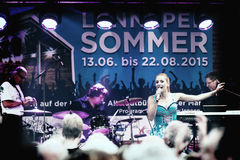 Stage show of Stefanie Hertel with band in Remscheid-Lennep Stock Image