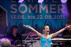 Stage show of Stefanie Hertel with band in Remscheid-Lennep Stock Photos