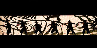 Stage silhouette:Farmer. In May 7, 2010, a reflection of Jiangxi original ecological humanities landscape of large style song and dance the wind in Jiangxi Art Stock Photos