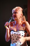On stage, the singer, a successful businesswoman  Marina Parusnikova (miss USSR) Stock Photography