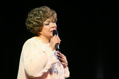 on stage singing the famous singer Edita Pieha. Royalty Free Stock Images
